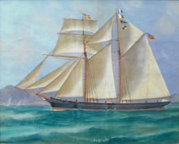 British School, mid-19th century- Little Pet, a British Schooner in calm seas and stormy waters;
