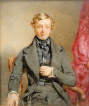 Circle of Thomas Heathfield Carrick, British 1802-1874- Portrait of a gentleman seated three-quarter