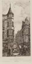 After Charles Meryon, French 1821-1868- Tourelle, Paris, 1861; book plate after an etching on