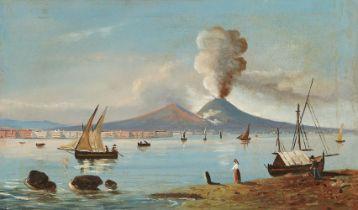 Neapolitan School, 19th century- Vesuvius erupting; oil on canvas, 35 x 58 cm. Provenance: Private