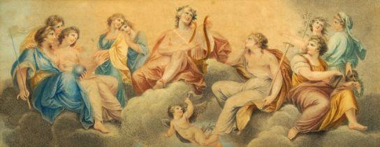 Francesco Bartolozzi RA, Italian 1727-1815- Apollo and the Muses; stipple engraving printed in