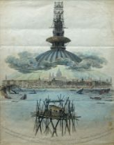 Thomas Hornor, British 1785-1844- View of the Observatory erected over the Cross of St Paul's
