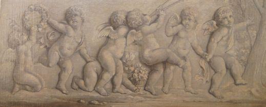 Follower of Jacob de Witt, Dutch 1695-1754- Cherubs with garlands and fruit; oil on canvas, 40 x 100