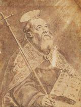 Follower of Cornelius Galle, Flemish 1576-1650- Portrait sketch of a Saint, possibly St Philip;