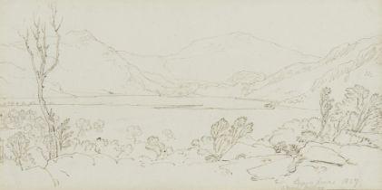 Hugh William (Grecian) Williams FRSE, Scottish 1773-1829- Llyn Dinas, Moel Hebog; pencil and pen and