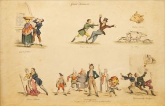 After William Heath, British 1794-1840- Good Dinners; hand-coloured etchings, seven, pub. Jan 10