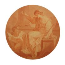 After Angelica Kauffman RA, Swiss 1741-1807- Allegorical figures; stipple engraving in sepia, tondo,