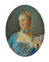 After Francois Boucher, French 1703-1770- Madame de Pompadour; portrait miniature, oval, 8.5 x 6.3