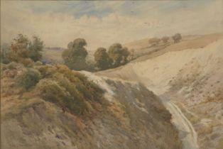 Charles F Robinson, British act.1874-1896 View over rolling hills with woodland; watercolour,
