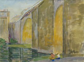 British School, late 20th Century- A town bridge, with two figures seated by the riverside;