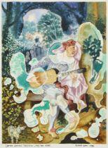"""Richard Allen, British 1933-1999- The Actor, after Watteau """"Mezzetin"""" c1719; watercolour, signed,"""