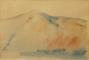 British School, 20th century- Abstract landscape; ink wash on paper, 22.5 x 34 cm: together with two