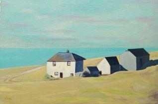 Marinela Marin, Britishb.1981- Judd's Farm, 2017; oil on canvas, signed, 61 x 91.5 cm. (