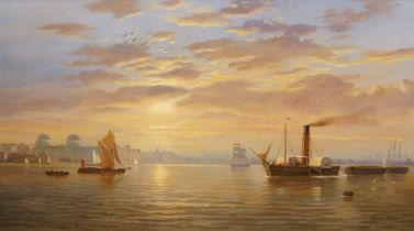 Raymond Campbell, British b.1956- Shipping scene off Greenwich; oil on canvas, signed, 51 x 76cm (