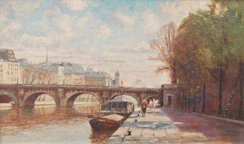 Kenneth Denton, British b.1932- View along the Seine, Paris; oil on board, signed, 29.5 x 49.5 cm;
