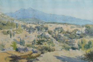 Francis le Marchant, British b.1939- The Coast of Turkey from Samos; watercolour, signed with