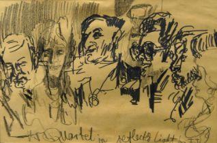 Feliks Topolski RA, British/Polish 1907-1989- The Quartet in Reflected Light; black felt tip and