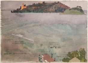 John Newland, British b. 1936- View of a distant island; watercolour, signed, 15.5 x 23 cm (ARR)