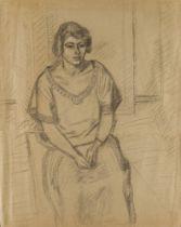 Barnett Freedman, British 1901-1958- Seated Woman; pencil on paper, estate stamp lower right, 65 x