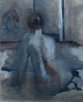 Honor Brogan, British school, late 20th century- Female nude; oil on paper, signed, bears label to