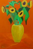 Marinela Marin, Britishb.1981- Sunflowers in a yellow vase; oil on canvas, signed and dated 2017 to