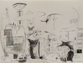 David Hughes, British b.1952- River Thames; ink on paper, signed lower left 'David Hughes', 57 x