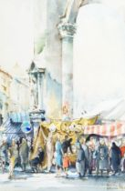 Dennis Page, British b.1926- Street Scenes in Florence; watercolours, signed, two, 33.5 x 24.5 cm: