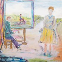 George Jerzy Bort, British/Polish 1917-2001- An artist at the easel, 1979; oil on panel, signed