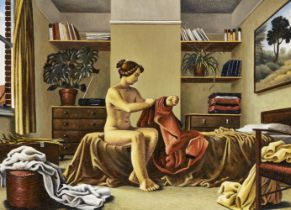 John Sendall, British b.1947- The Bedroom; oil on panel, bears label on the reverse, 39 x 53.5 cm (