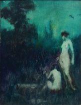 Alexander Brantingham Simpson RI ROI, British, act.1904-1931- Two female nudes in a landscape; oil