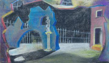 Brian Seaton, British, mid-20th century- Surrealist set design, with a classical motif; coloured