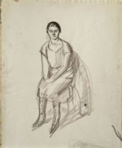 Barnett Freedman, British 1901-1958- Seated Woman; ink and pencil on paper, estate stamp lower