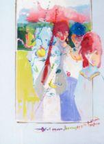 British School, late 20th/early 21st century- Full Moon, Banana, Apple & Plum, 1999/2000; oil on