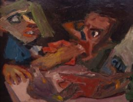 Francis West, Scottish 1936-2015- Untitled, Two figures; oil on canvas laid down on board, 45 x 50.5