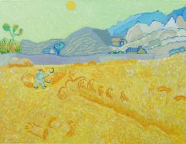 Iulian Atomei, British b.1979- Wheat Field; oil on canvas, signed, dated 2017 to the reverse, 35.5 x