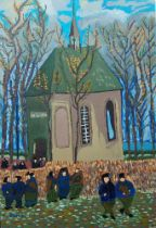 Iulian Atomei, British b.1979- The Sunday Liturgy at the Church; oil on canvas, signed, dated 2018