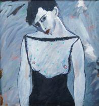 Arnold Chapkis, British 1944-2016- Portrait of Lisa; oil on canvas, 91.5 x 91.5 cm (ARR) Please