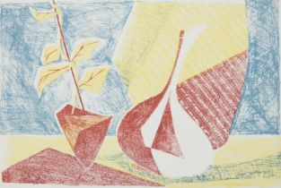 Brian Seaton, British, mid-20th century- Abstract Still life; lithograph in colours, signed and