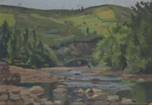Clifford Hall RBA ROI, British 1904-1971- River landscape with a stone bridge and hills beyond;