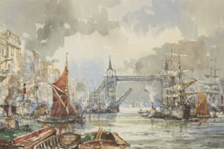 John Sutton, British b.1935- Busy shipping scenes on the Thames; watercolours, each signed, a
