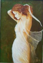 British School, late 20th century- Nude female figure; oil on canvas, signed with initials, 34 x