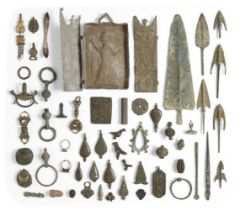 A group of lead weights, Roman belt fittings and later metalwork items, mainly Egypt and North
