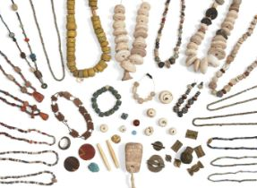 A large group of ancient, modern and ethnographic beads, including ancient Egyptian faience beads,
