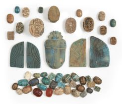 A group of 45 steatite and hardstone Egyptian scarabs and scarabeoids, New Kingdom and later,