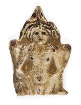 An ancient Egyptian white faience amulet of the Greco-Egyptian goddess Baubo, circa 1st century
