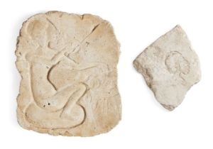 Two Egyptian style relief fragments, including a stucco relief with a princess seated on a cushion