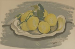 After Georges Braque, French 1882-1963- Untitled Still Life with Lemons; lithograph in colours on