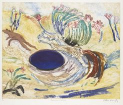 Arthur Boyd AC OBE, Australian 1920-1999- Floating Over a Dark Pond; etching in colours on wove,