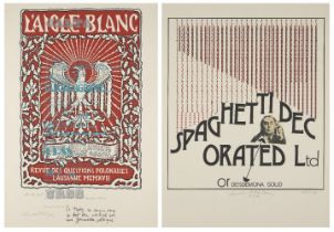 Henri Chopin, French 1922-2008- Spaghetti decorated Ltd and L'URSS agrippe l'ordre, L'aigle blanc,
