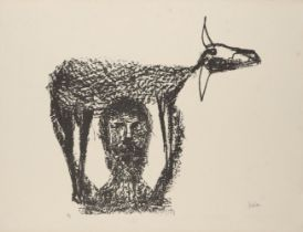 Sir Sidney Nolan OM AC CBE, Australian 1917-1992- Rinder Subject I, 1969; lithograph on Arches wove,
